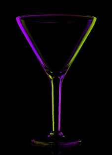 Free Transparent Colored Empty Martini Glass On Black Stock Photo - 16927950
