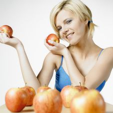 Free Woman With Apples Stock Images - 16928054