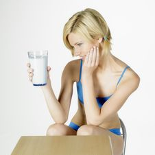 Free Woman With A Glass Of Milk Stock Image - 16928061