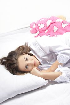 Young Woman In Bed Royalty Free Stock Photo