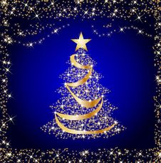 Free Sparkling Golden Christmas Tree Stock Image - 16929171