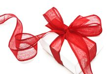 Free The White Gift Box With The Red Ribbon Royalty Free Stock Photo - 16929205