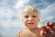 Free Funny Cute Child Over Sky Background Royalty Free Stock Image - 16929276