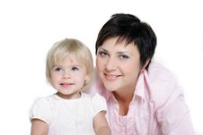 Free Loving Mother And Daughter Over White Stock Images - 16929354