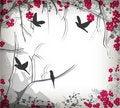 Free Romantic Cherry Tree With Birds Royalty Free Stock Photos - 16930378
