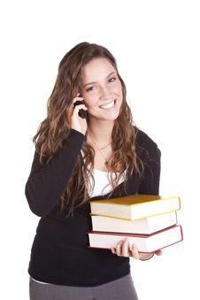 Free Business Woman Phone Happy Books Stock Photo - 16930100