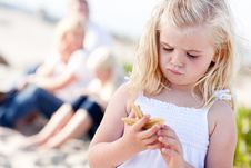 Adorable Little Blonde Girl With Starfish Stock Image