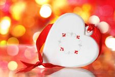 Free Christmas White Heart With Red Ribbon Stock Photo - 16930200