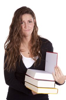 Free Holding Books Witn Frustrated Expression Stock Image - 16930271