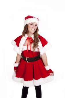 Mrs Santa Holding Skirt Stock Images