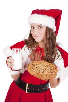 Free Mrs Santa With Milk And Big Cookie Stock Image - 16930431