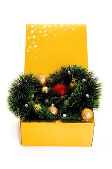 Free Box With Xmas Decoration Stock Photo - 16931960
