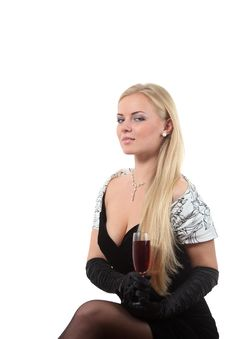 Free Blond In A Dress Drink Wine Stock Photos - 16935213