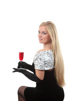 Free Blond In A Dress Drink Wine Royalty Free Stock Photography - 16935217