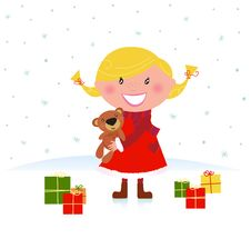 Free Happy Winter Blond Child With Christmas Gifts Stock Photos - 16936113