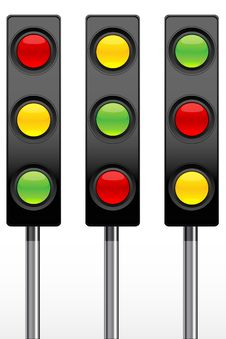 Traffic Signal Icons Stock Photo