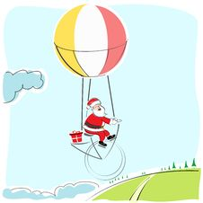 Free Santa Flying In Parachute Royalty Free Stock Photos - 16937018