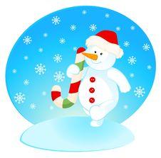 Free Cartoon Little Cute Snowman Stock Images - 16937094