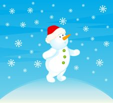 Free Cartoon Little Cute Snowman Stock Image - 16937121