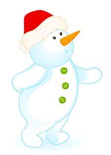 Free Cartoon Little Cute Snowman Royalty Free Stock Image - 16937126