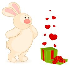 Free Cartoon Little Toy Bunny With Heart Stock Images - 16937234