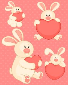 Free Cartoon Little Toy Bunny With Heart Stock Photo - 16937250