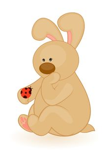 Little Toy Bunny With Ladybird Stock Image