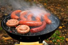 Free Barbecue Sausages On Mangal. Royalty Free Stock Image - 16938026