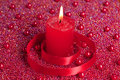 Free Burning Candle With Red Ribbon Royalty Free Stock Photography - 16945927