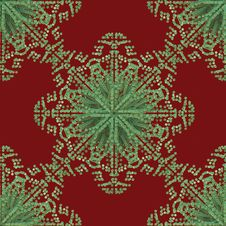 Free Red Green Snowflake Pattern Royalty Free Stock Images - 16943389