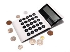 Free Business Electronic White Calculate IT With Coins Stock Images - 16943564
