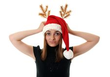 Free Beautiful Girl In Red Hat Santa And Golden Branch Royalty Free Stock Photo - 16943605