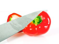 Paprika With Knife Royalty Free Stock Photography