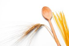 Ear Of Wheat, Pasta And Wooden Spoon Stock Photos
