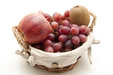 Grapes With Apple And Kiwi Royalty Free Stock Photography