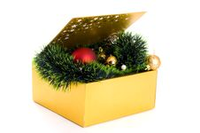 Free Box With Xmas Decoration Royalty Free Stock Images - 16945839