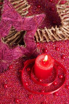 Free Candle With Christmas Decorations Royalty Free Stock Photos - 16945958