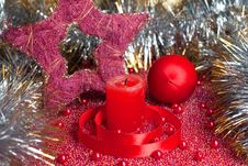 Free Extinguished Candle With Christmas Decorations Royalty Free Stock Image - 16945976