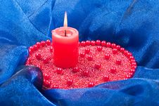 Free Burning Candle With Christmas Decorations Stock Images - 16946034