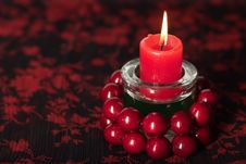 Free Birning Candle With Red Beads Stock Photos - 16946043
