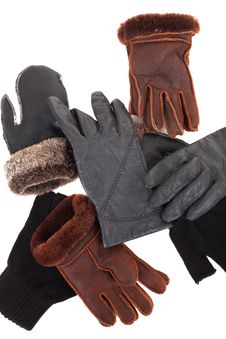 Free Pair Of Black Knitted Gloves Stock Photography - 16948612