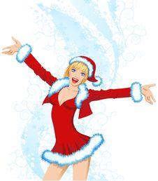 Free Beautiful Girl In A Santa Suit Stock Image - 16949201