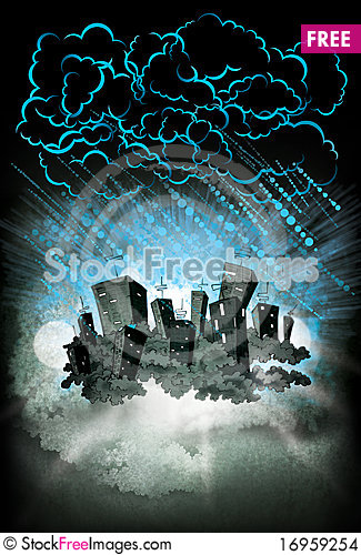 Free Rain In The Abstract Neon Night Lighted City Stock Images - 16959254