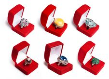 Free Silver Ring With Gemstones Stock Photography - 16950942