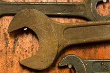 Free Spanner On Wood Board Stock Photos - 16950983