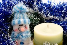 Free Candle And Snowman Royalty Free Stock Photo - 16952255