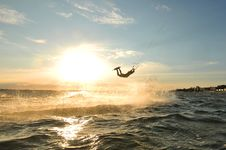 Free Kiteboarder Jumping On A Wave Stock Image - 16952351