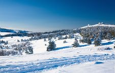 A View On A Snowy Valley Royalty Free Stock Photos