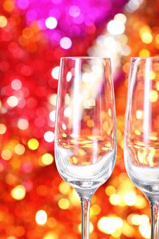 Free Two Empty Glasses On The Blurred Background Stock Image - 16953421