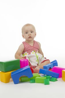 Free Infant With Plastic Cubes Royalty Free Stock Photo - 16953485
